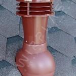Вентиляционный выход неизолированный D 110 мм Н 495 мм c проходным элементом для мягкой кровли (при монтаже)