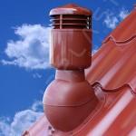 Вентиляционный выход изолированный    D 110 мм      Н  495 мм с проходным элементом для кровли из металлочерепицы