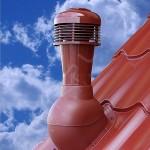 Вентиляционный выход неизолированный D 110 мм Н 495 мм с проходным элементом для кровли из металлочерепицы с электрическим вентилятором 305 куб.м./час